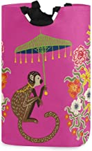 UNISE Beautiful Vintage Monkey with Floral Chinoiserie Style Laundry Basket Large with Handles Foldable Clothes Toys Stora...