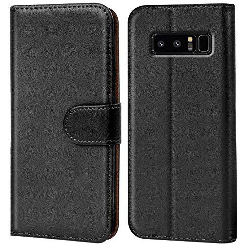 Conie Handyhülle für Samsung Galaxy Note 8 Hülle, Premium PU Leder Flip Case Booklet Cover Weiches Innenfutter für Galaxy Note 8 Tasche, Schwarz