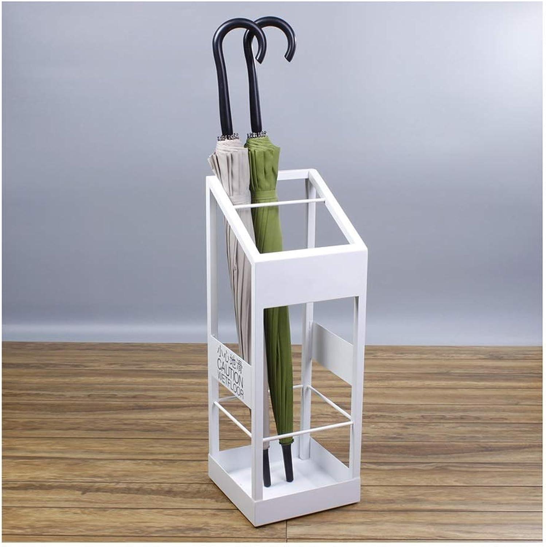 TYUIO Household Wrought Iron Umbrella Stand Office Multifunctional Metal Rectangular Umbrella Stand (White Black) (color   White)