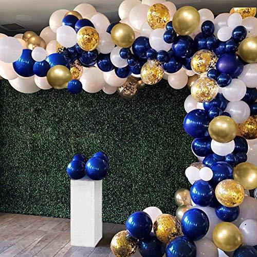 OuMuaMua - Juego de 129 globos de oro azul marino, globos de confeti de oro blanco y azul marino con accesorios de globo para fiesta de graduación, baby shower, boda, cumpleaños, clase de 2020 decoraciones de baile