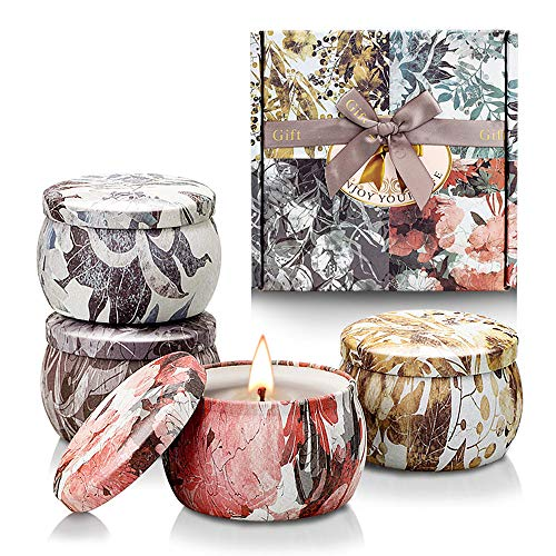 Scented Candles Gift Set for Women, Aromatherapy Candle Gifts for Her, Soy Wax with Travel Tin for Stress Relief Relaxation Gifts Birthday Mother's Day Anniversary Christmas Thank You Gifts