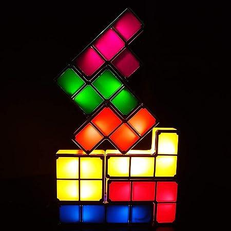 Tetris Lampe,Justup 3D Diy LED Tetris Stapelbares Nachtlicht 7 Farben Induktionsverriegelung Schreibtischlampe Magic Blocks Puzzles Spielzeug für Kinder Teens Schlafzimmer Wohnkultur (Tetris Lampe)