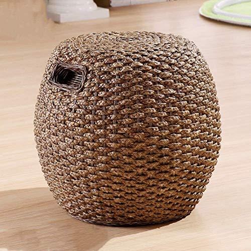 Ronda Rattan Weaving heces, heces Forma Creativa Vestir Inicio Sala de Estar Sofá Escabel (Color : F, Size : L45xW45xH45cm)