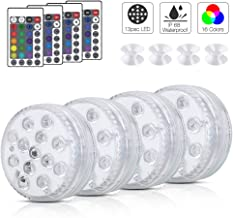 "Submersible LED Lights with Remote ,Full Waterproof Pool Lights for Inground Pool with 4pcs Suction Cups,2.8"" Color Changi..."