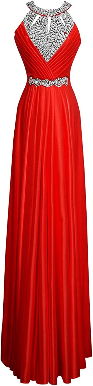 JudyBridal Women's Sheath Evening Dress Long Formal Prom Dresses Homecoming Gown with Crystal