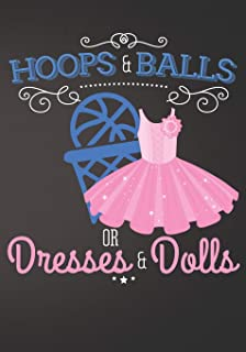 Hoops and Balls or Dresses and Dolls Basketball: Gender Reveal Baby Shower Sign In Guest Book Plain