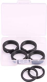 Shapenty 20mm/0.75 Inch Small Black Flat Metal Keychain Part Accessories Split Keyring Key Ring Chain Clip Holder (Black, ...
