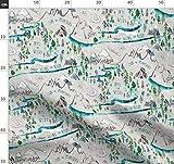 Alpin, Landkarte, Berge, Fluss, Draußen, Wald Stoffe -