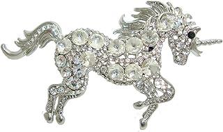 TTjewelry Unique Elegant Unicorn Horse Rhinestone Crystal Brooch Pin Art Nouveau Pendant
