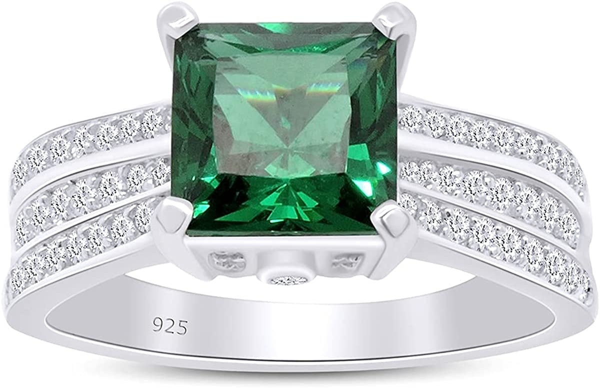 AFFY 3.96CTW Fort Worth Mall Simulated Emerald White 5 ☆ popular Diamond Cluster