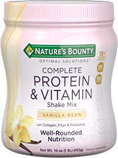 Protein Powder with Vitamin C by Nature's Bounty Optimal Solutions, Contains Vitamin C for Immune Health, Vanilla Bean Fla...