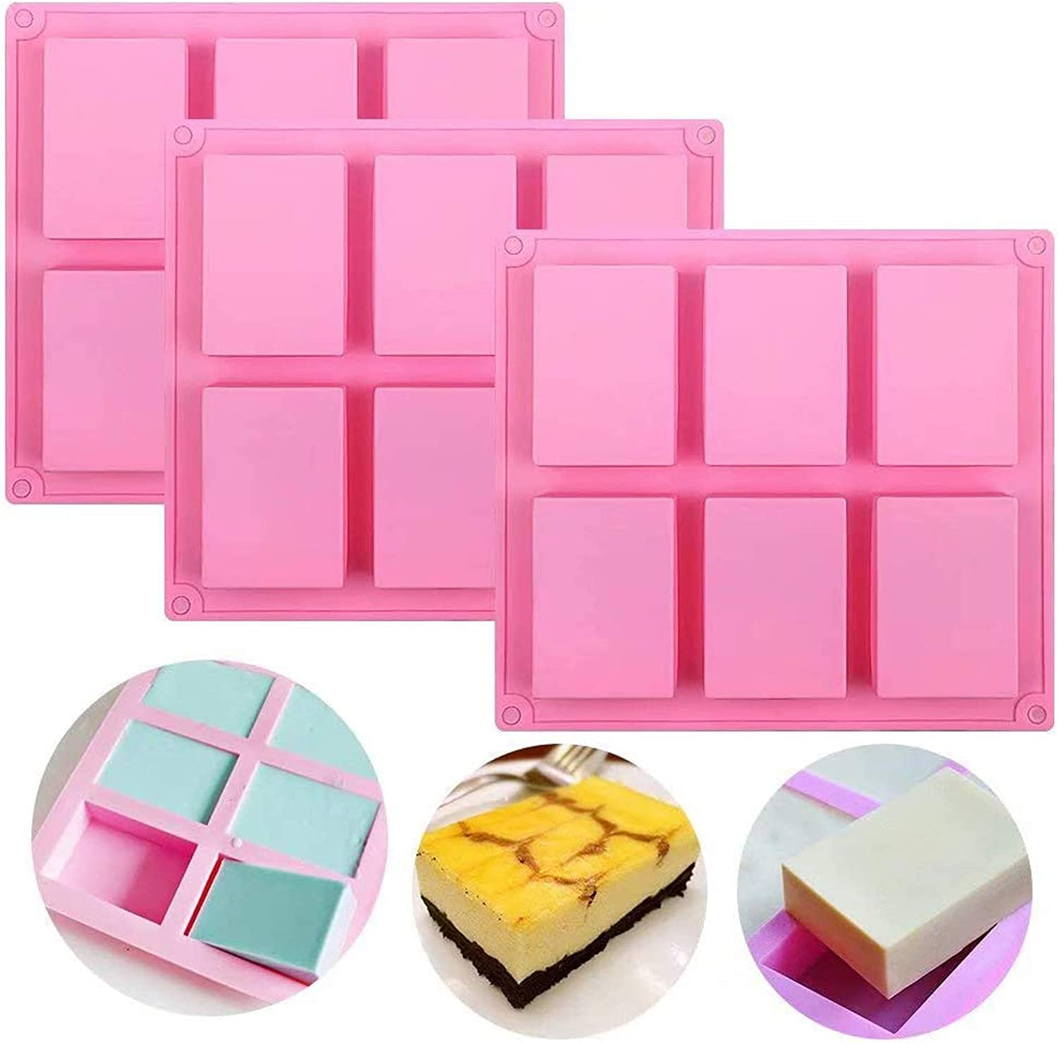 Silicone Soap Molds Set Selling rankings of 3 Cavities DIY Handmade Selling Mould 6