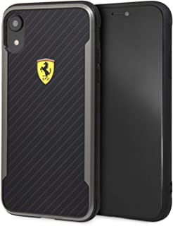 Ferrari On Track Hard Case with Carbon Effect for iPhone Xr - Black FESPCHCI61CBBK