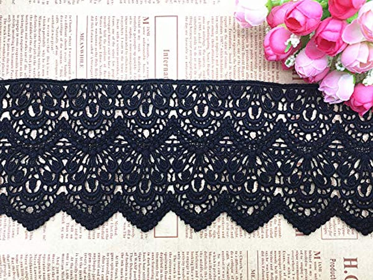 10CM Width Europe Short Pattern Inelastic Embroidery Trims,Curtain Tablecloth Slipcover Bridal DIY Clothing/Accessories.(4 Yards in one Package) (Black)
