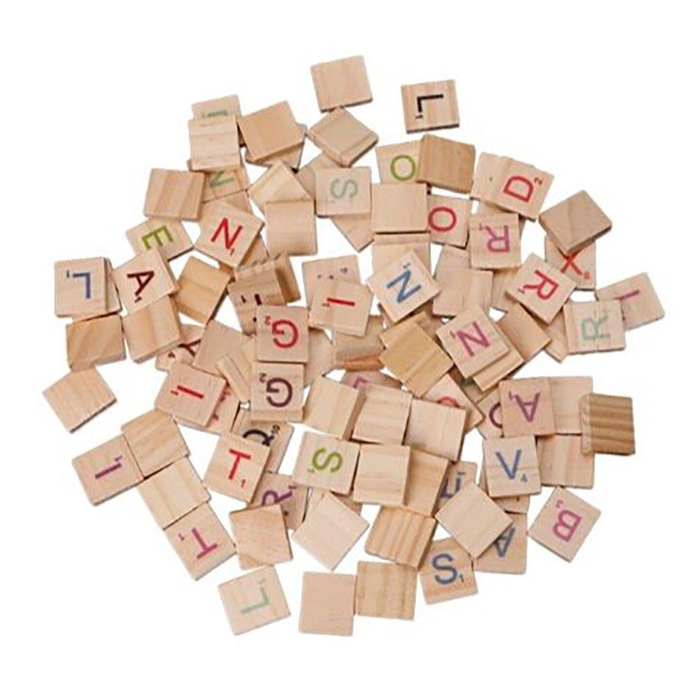 100 fichas de Madera con números de Letras Coloridas para Manualidades, Madera, Alfabeto, Juguete: Amazon.es: Electrónica