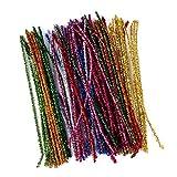 100 piezas de alambre de chenilla para manualidades y decoración, 30 cm x 6 mm, varios colores con purpurina