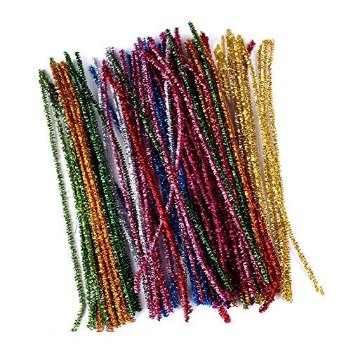 Lot de 100 cure-pipes en fil chenille pour loisirs créatifs et décoration DIY 30 cm x 6 mm Couleurs mélangées à paillettes