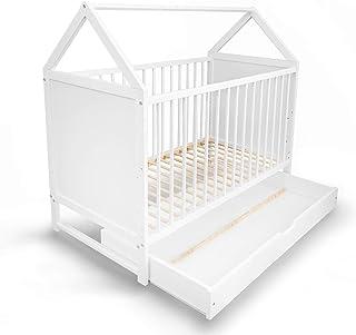 ALCUBE Babybett Charlie 60x120 cm - Gitterbett umbaubar zum Haus Kinderbett