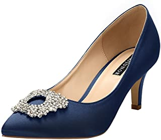 ERIJUNOR Women's Pumps Low Heel Rhinestone Brooch Satin...