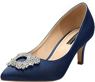 Women's Pumps Low Heel Rhinestone Brooch Satin Evening Dress Wedding Shoes
