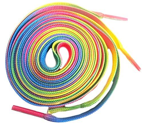 Shoeslulu 35' Premium Flat Colorful Fashion Sneakers Shoelaces ([Flat] 35 in. (90 cm), Rainbow Pride)
