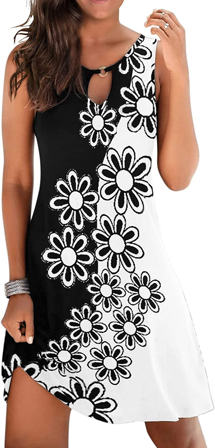 ORT Summer Dresses Plus Size, Beach Dresses for Women, Womens Dresses Casual Printed Sexy V-Neck Loose Plus Size Mini Dress