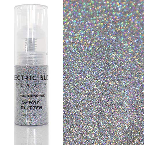 30 Grams Loose Glitter Spray - Holographic Glitter Spray - Cosmetic Grade - Makeup Face Body Nail Festival Rave Beauty Craft (Silver)