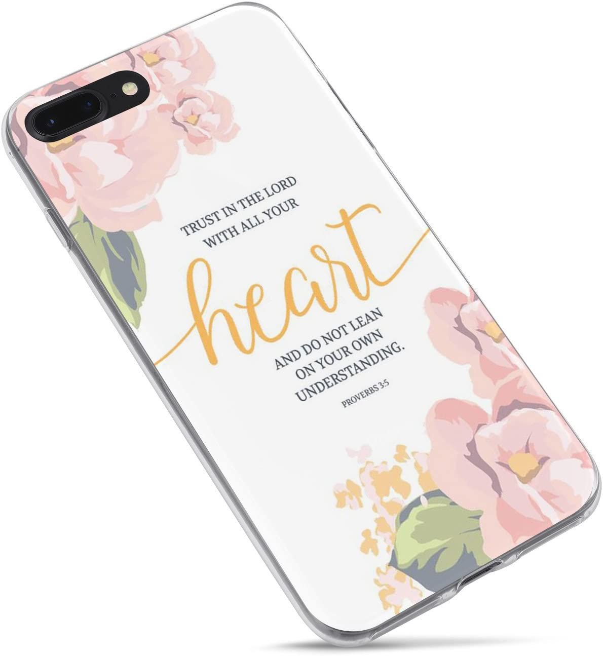 iPhone 7/iPhone 8/iPhone SE(2020) Girls Wome,Cute Flowers Floral Rose Christian Bible Verses Inspirational Quotes Proverbs 3:5 Trust Lord Soft Ur Heart Clear Side Case Compatible for iPhone 8/iPhone 7