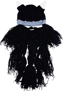 Wiwsi Men Boy Funny Wig Beard Hats Hobo Mad Caveman Winter Knit Warm Hat Beanies