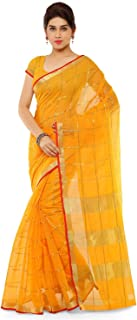 Sidhidata Textile Women's Kota Doria Cotton Saree With Blouse Piece