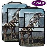 XZfly 2 Pack Organisateur de siège arrière de Voiture, drôle Girafe zèbre Animaux Organisateur Protecteur de siège arrière avec Support de Tablette à écran Tactile