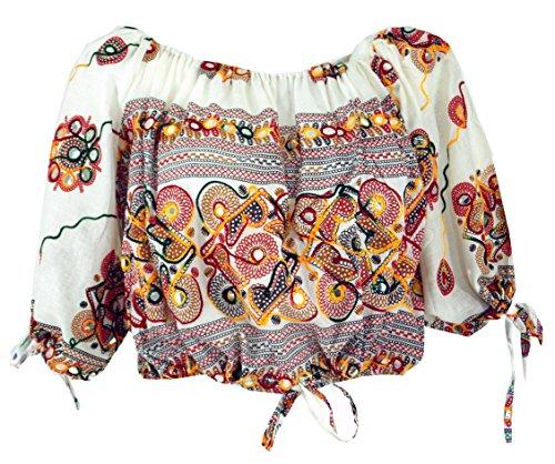 GURU SHOP Blusentop Chic, Hippie Bluse, Damen, Weiß, Baumwolle, Size:40, Blusen & Tunikas Alternative Bekleidung