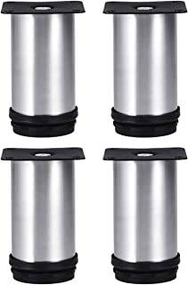 Tinksky Metal Furniture Legs Kitchen Adjustable Feet Round Furniture Legs- 4pcs(Silver)