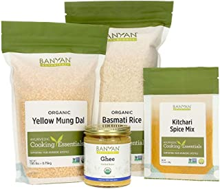 Banyan Botanicals Kitchari Kit – Organic Yellow Mung Dal, Basmati Rice, Kitchari Spice Mix & Ghee to Make Kitchari – for Ayurvedic Cleanses & Digestive Resets – Non GMO Sustainably Sourced Vegetarian