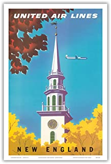 New England - United Air Lines - Georgian Steeple - Vintage Airline Travel Poster by Joseph Binder c.1950s - Master Art Print - 12in x 18in
