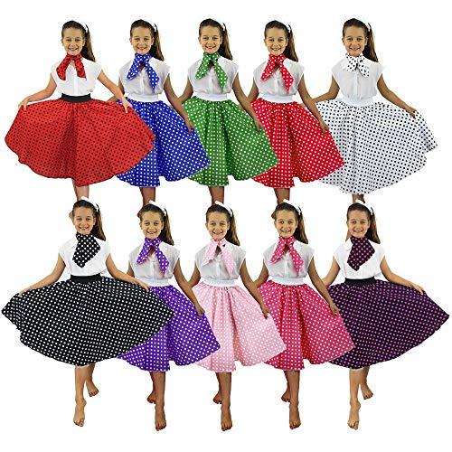 I LOVE FANCY DRESS LTD Falda Longa ROJA con Puntos Blancos Lunares Y PANUELO para EL Cuello Disfraz Estilo AÑOS 50 para NIÑAS Fiestas TEMATICAS, Verano O DANZAS Y TEATROS