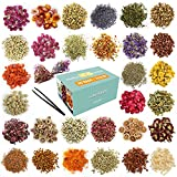 30 Bags Dried Flowers,100% Natural Dried Flowers Herbs Kit for Soap Making, DIY Candle Making,Bath - Include Rose Petals,Lavender,Don't Forget Me,Lilium,Jasmine,Rosebudsand More