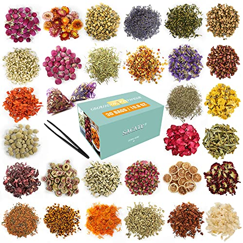 30 Bags Dried Flowers,100% Natural Dried Flowers Herbs Kit for Soap Making, DIY...