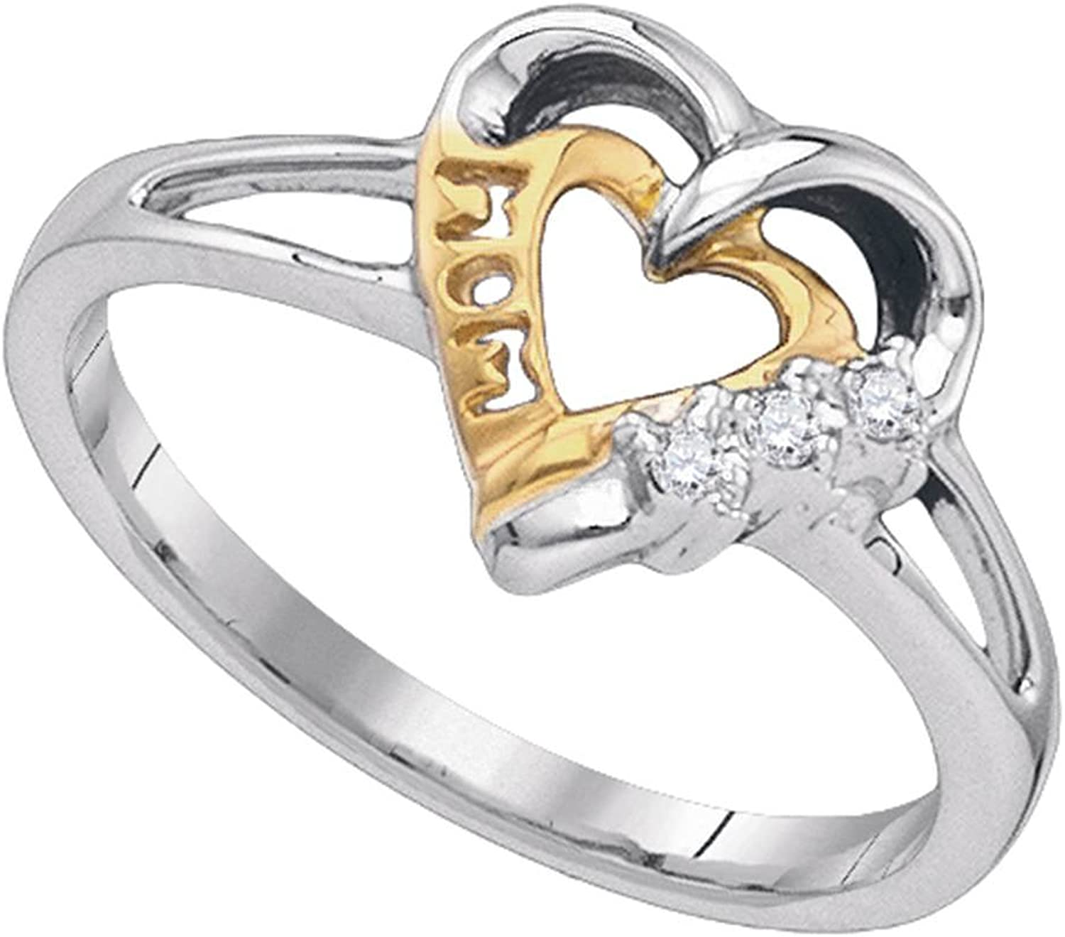 Sterling Silver Womens Round Diamond Mom Mother 2tone Heart Ring .03 Cttw