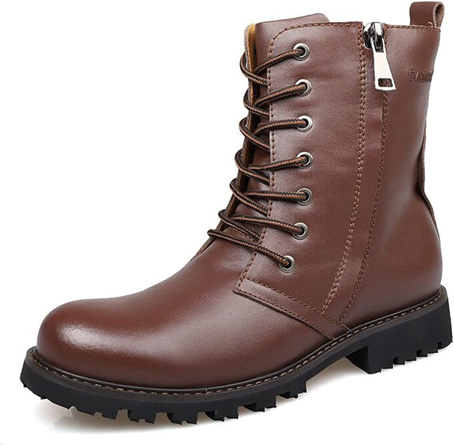 SUN Spring and Autumn Fashion PU Martin Boots Outdoor Casual shoes Tie shoes Dark Brown (Size   EU43 UK9 CN44)