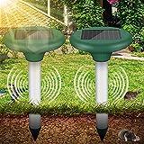 Vivibel 2 Stück Maulwurfabwehr Solar, Ultrasonic Solar Maulwurfschreck Maulwurfbekämpfung mit IP56 Wühlmausschreck Mole Repellent,Maulwurfbekämpfung, ultraschall maulwurfschreck