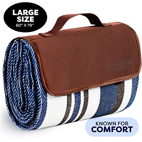 Extra Large Picnic & Outdoor Blanket Dual Layers for Outdoor Water-Resistant Handy Mat Tote Spring Summer Blue and White Striped Great for The Beach,Camping on Grass Waterproof Sandproof (Blue 60X79)