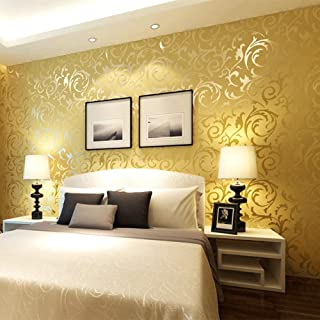 QIHANG Gold Yellow Netherland Victorian Damask/Embossed Textured Wallpaper