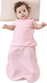 Enrich YLife Baby Cotton Sleeping Bag Swaddle Sack Wearable Blanket for Boys and Girls, 4 Season, 3-12 Months(Pink)