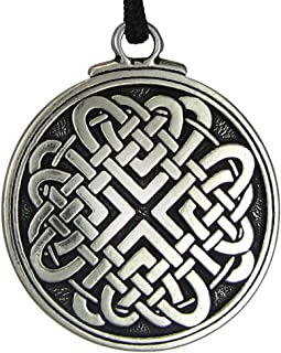Pewter Celtic Love Knot Woven Heart Pendant - 1.5 Inch Diameter