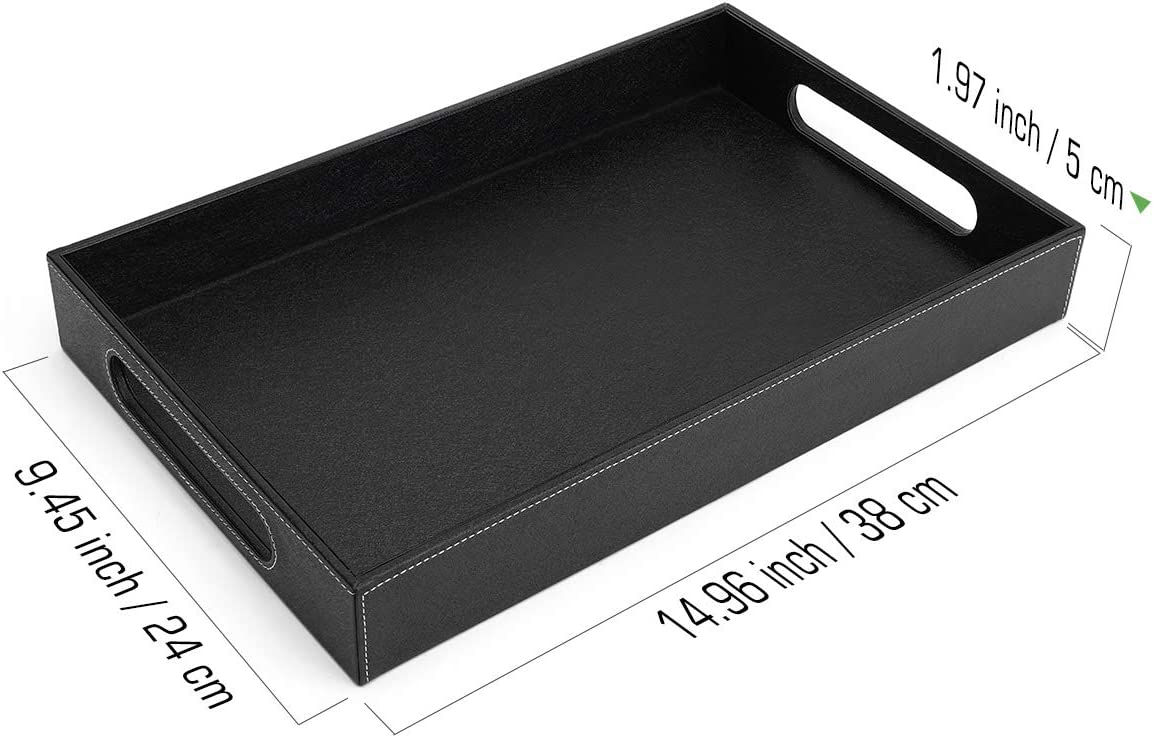 Black Jewelry Key Tray 38 x 24 x 5 cm Large Capacity PU Leather Serving Tray Countertop Storage Organizer Plate for Kitchen Bathroom Luxspire Valet Tray with Handles Decorative Catchall Tray