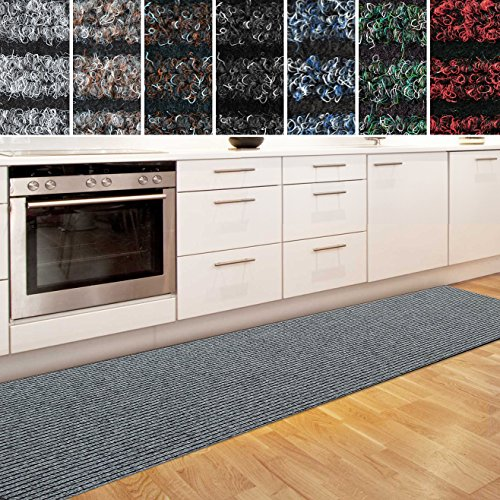 casa pura Küchenläufer Granada in großer Auswahl | strapazierfähiger Teppich Läufer für Küche Flur UVM. | Rutschfester Teppichläufer/Flurläufer für alle Böden (80x200 cm Grau)