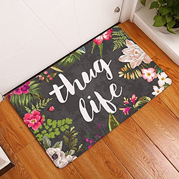 FANNEE Thug Life Flowers Doormat Entrance Mat Floor Mat Rug Indoor Bathroom Mats Rubber Non Slip 19 7x31 5 Inch