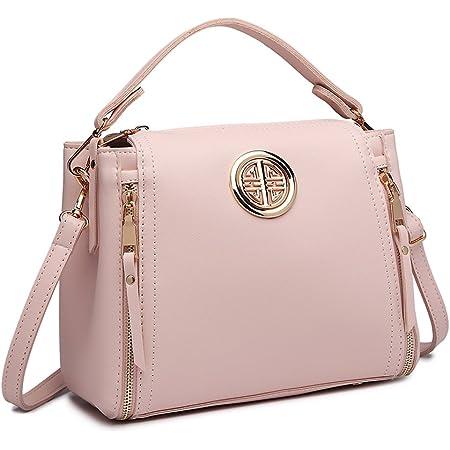 Miss Lulu Handtasche Damen Schultertasche Henkeltasche Pu Leder Elegant Umhängetasche Mittlere Top Griff Tasche (Pink)