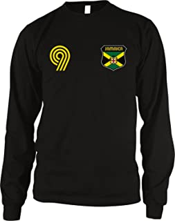 Amdesco Jamaica Soccer Style Crest and Number Men's Long Sleeve Thermal Shirt